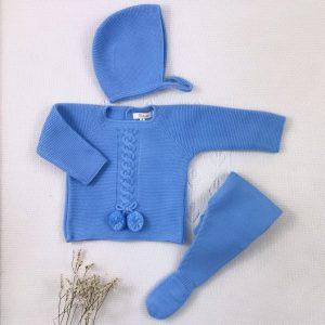 Conjunto tres piezas punto invierno jersey polaina y capota a juego nube