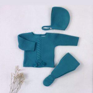 Conjunto tres piezas punto invierno jersey polaina y capota a juego turquesa