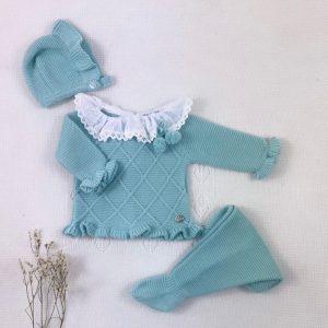 Conjunto tres piezas punto invierno cuello plumeti jersey polaina y capota a juego verde agua