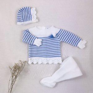 Conjunto tres piezas punto invierno jersey rayas pompón polaina y capota a juego