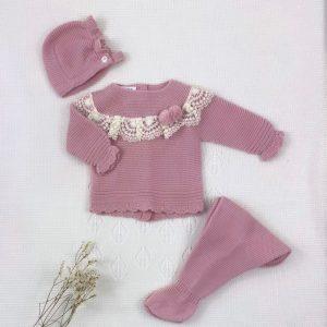 Conjunto tres piezas punto invierno jersey rombo en el medio bodoques polaina y capota a juego maquillaje